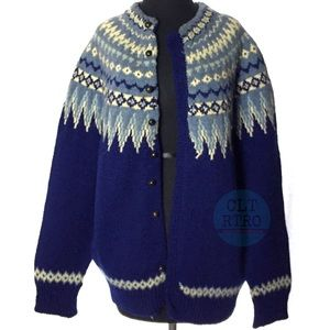 70s vtg Fair Isle Wool Cardigan Sweater
